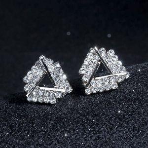 Silver Crystal Triangle Stud Earrings